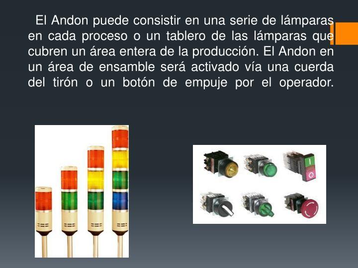 El Andon puede consistir en una serie de lámparas en cada proceso o un tablero de las lámparas que cubren un área entera de la producción. El Andon en un área de ensamble será activado vía una cuerda del tirón o un botón de empuje por el operador.