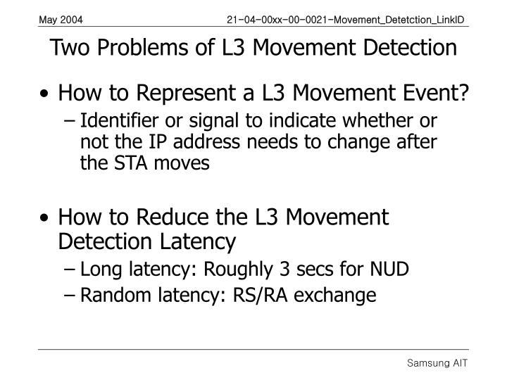Two Problems of L3 Movement Detection