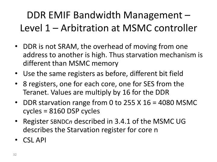 DDR EMIF Bandwidth Management –