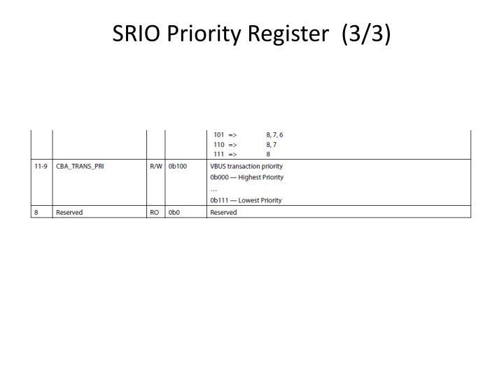 SRIO Priority Register  (3/3)