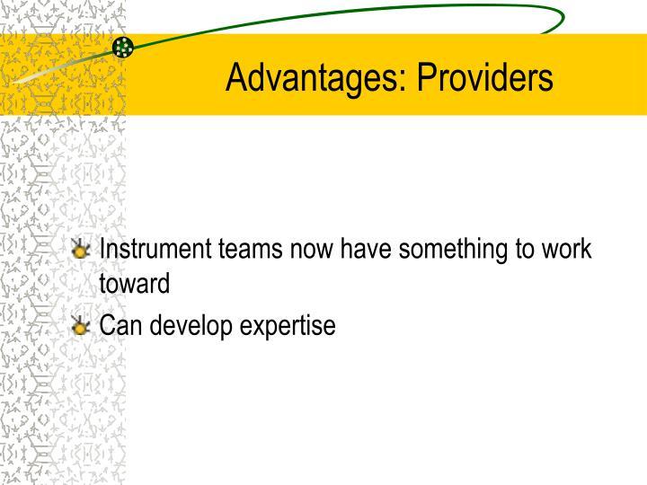 Advantages: Providers