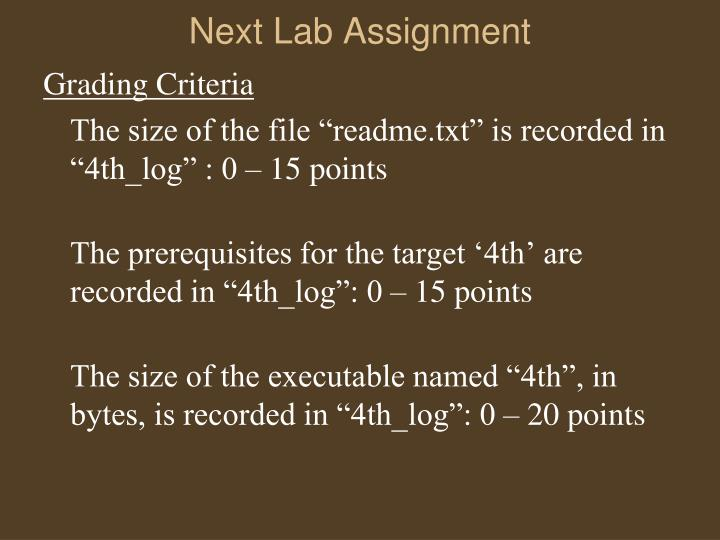 Next Lab Assignment