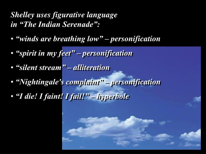 "Shelley uses figurative language                      in ""The Indian Serenade"":"