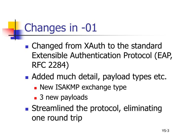 Changes in 01