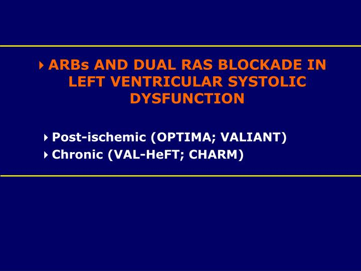 ARBs AND DUAL RAS BLOCKADE IN LEFT VENTRICULAR SYSTOLIC DYSFUNCTION