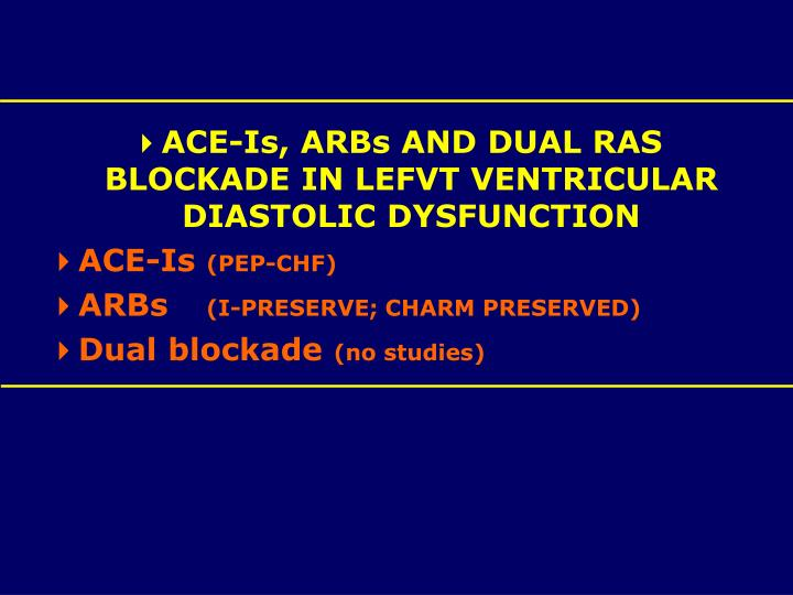 ACE-Is, ARBs AND DUAL RAS BLOCKADE IN LEFVT VENTRICULAR DIASTOLIC DYSFUNCTION