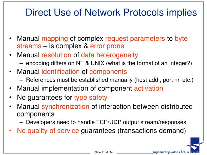 Direct Use of Network Protocols implies