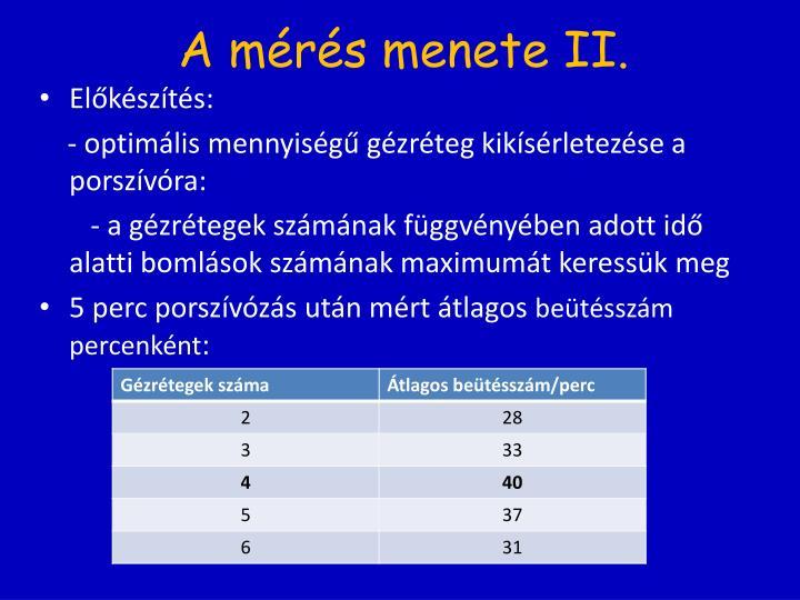 A mérés menete II.