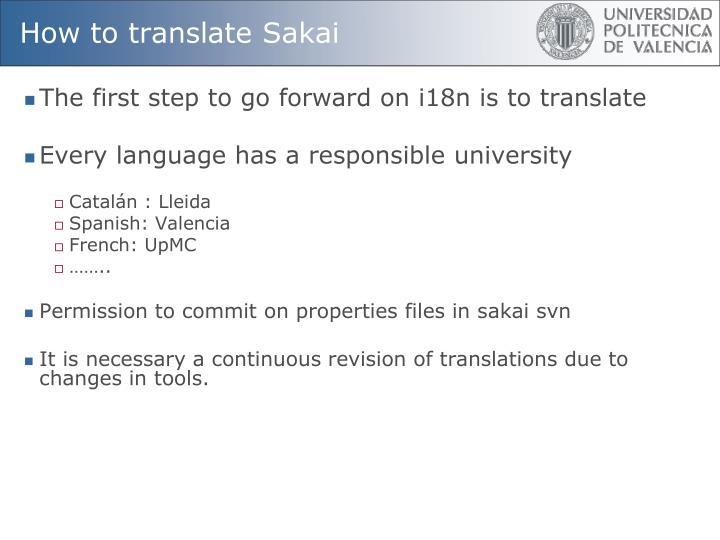 How to translate Sakai