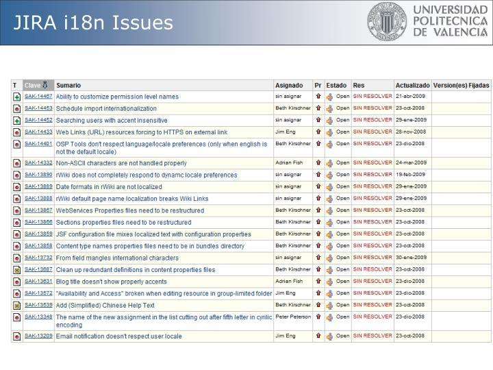 JIRA i18n Issues
