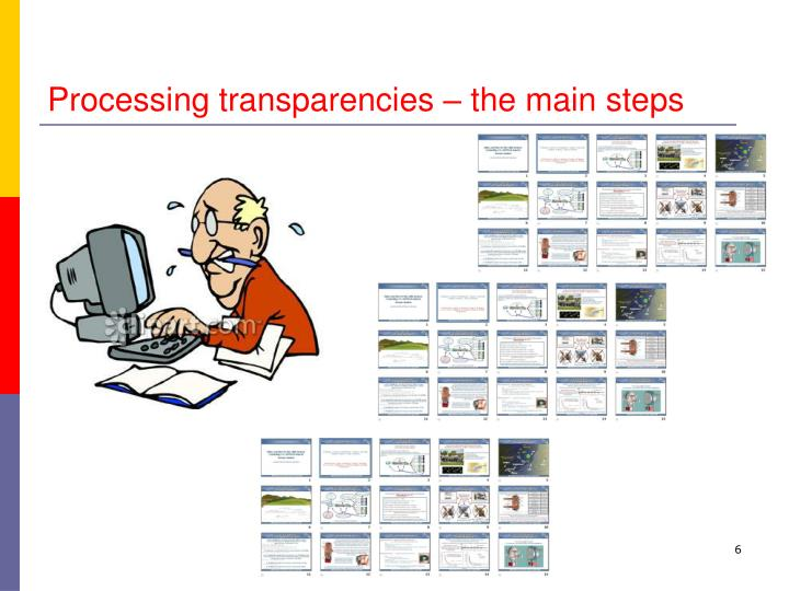 Processing transparencies – the main steps