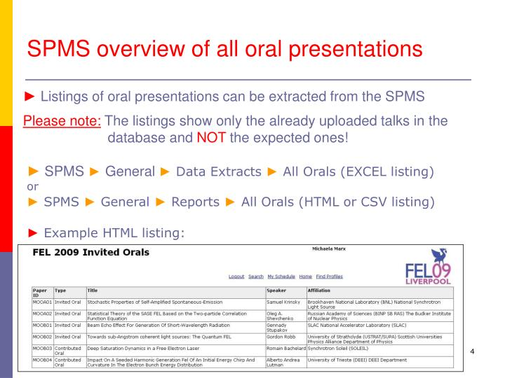 SPMS overview of all oral presentations