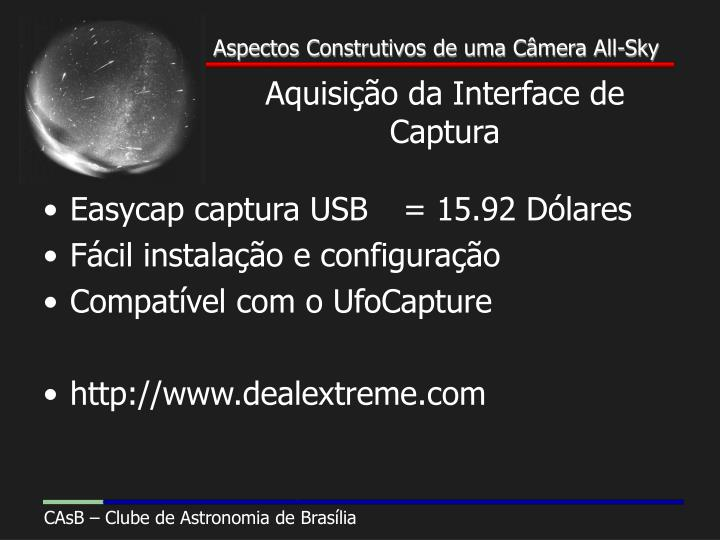 Aquisição da Interface de Captura