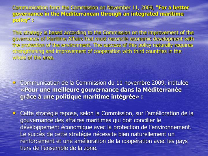 Communication from the Commission on November 11, 2009,