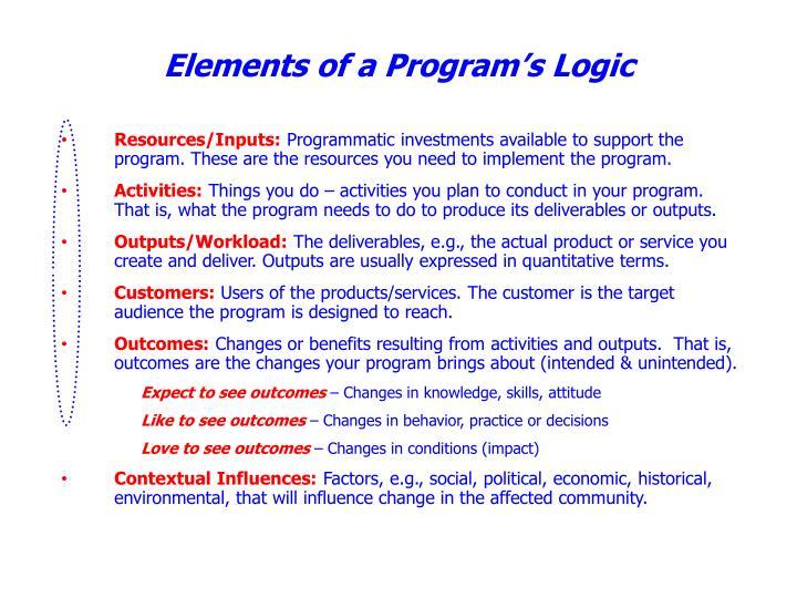 Elements of a Program's Logic