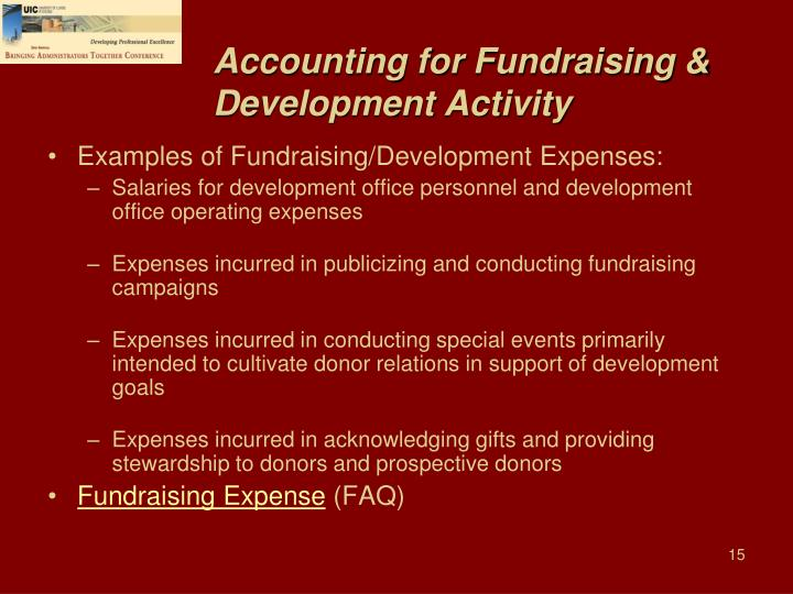 Accounting for Fundraising & Development Activity