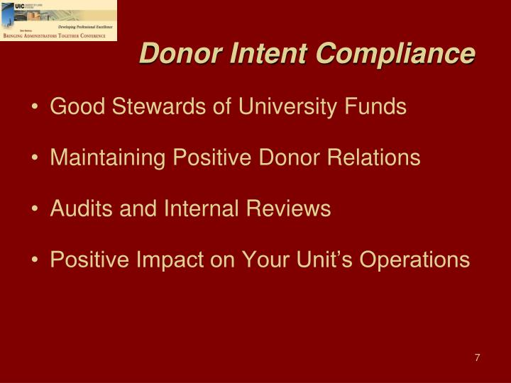 Donor Intent Compliance