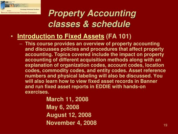 Property Accounting classes & schedule