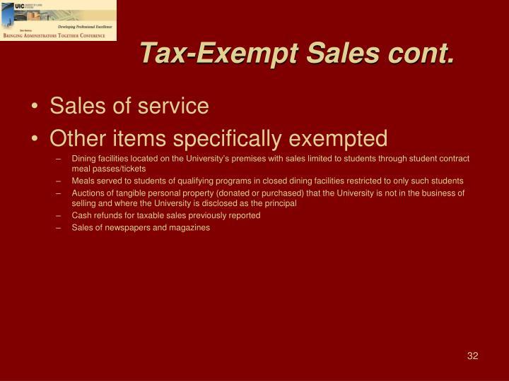 Tax-Exempt Sales cont.