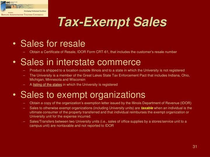 Tax-Exempt Sales