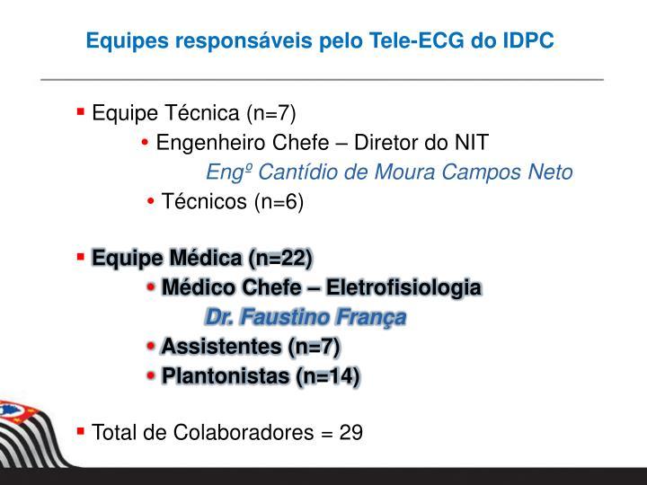 Equipes responsáveis pelo Tele-ECG do IDPC