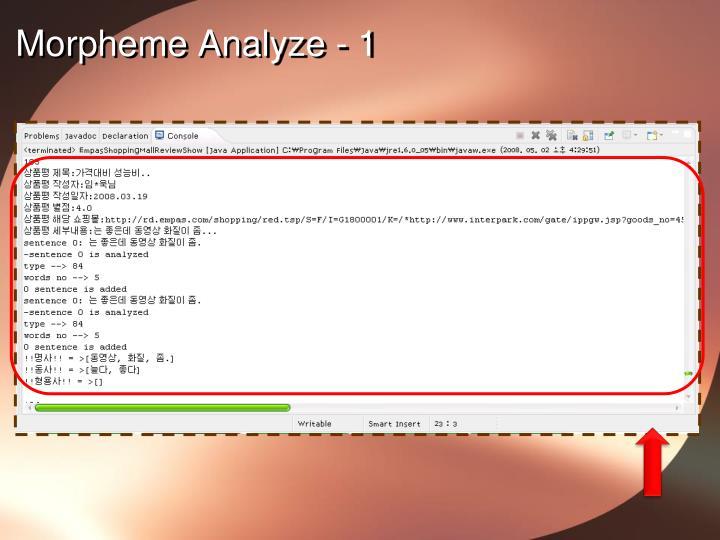 Morpheme Analyze - 1