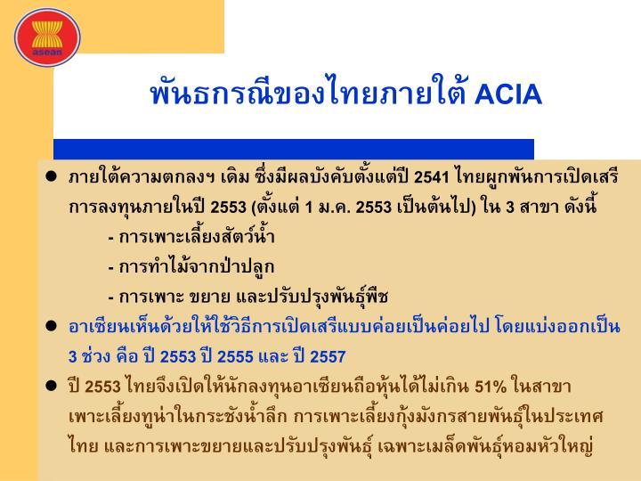 พันธกรณีของไทยภายใต้