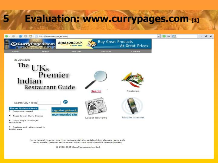 5Evaluation: www.currypages.com