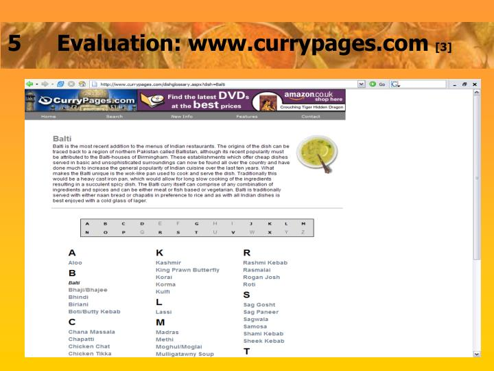 5	Evaluation: www.currypages.com