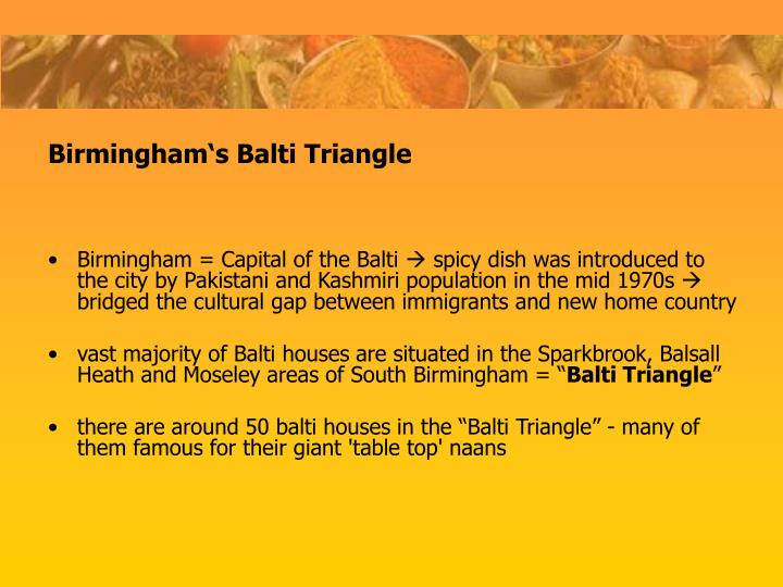 Birmingham = Capital of the Balti