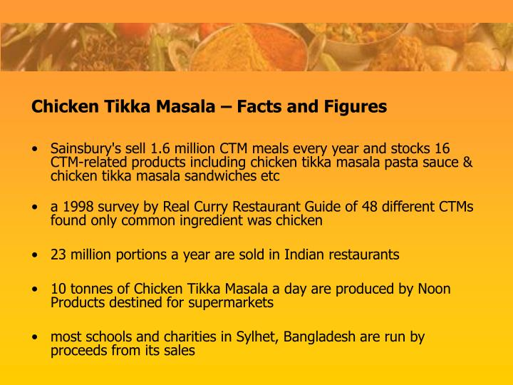 Sainsbury's sell 1.6 million CTM meals every year and stocks 16 CTM-related products including chicken tikka masala pasta sauce & chicken tikka masala sandwiches etc
