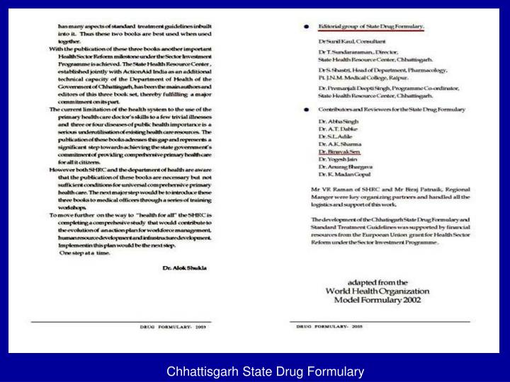 Chhattisgarh State Drug Formulary
