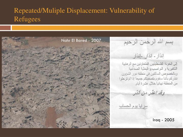 Repeated/Muliple Displacement: Vulnerability of Refugees
