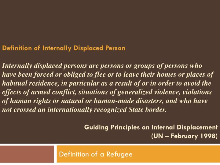 Definition of Internally Displaced Person