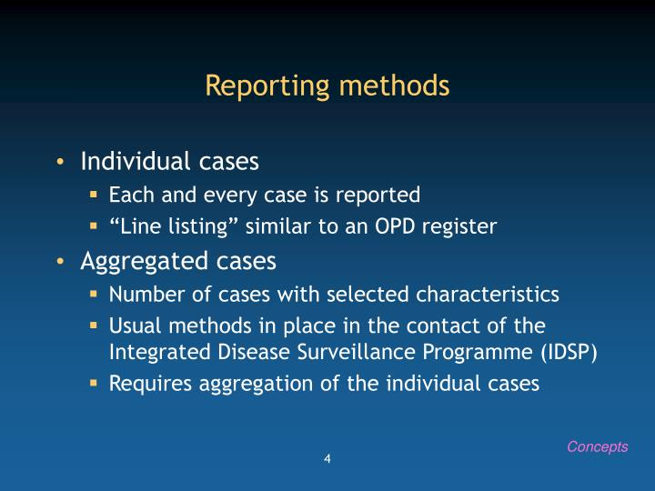 Reporting methods