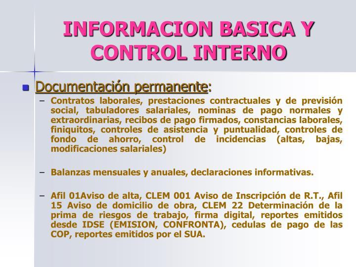 INFORMACION BASICA Y CONTROL INTERNO