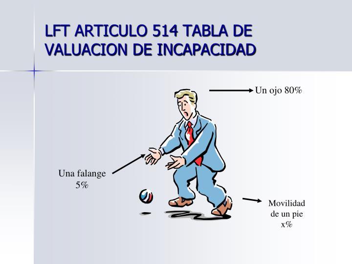 LFT ARTICULO 514 TABLA DE VALUACION DE INCAPACIDAD