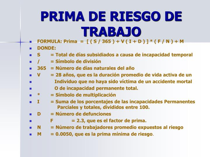 PRIMA DE RIESGO DE TRABAJO