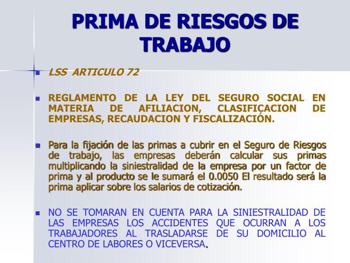 PRIMA DE RIESGOS DE TRABAJO
