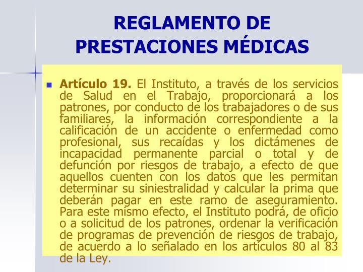 REGLAMENTO DE PRESTACIONES MÉDICAS