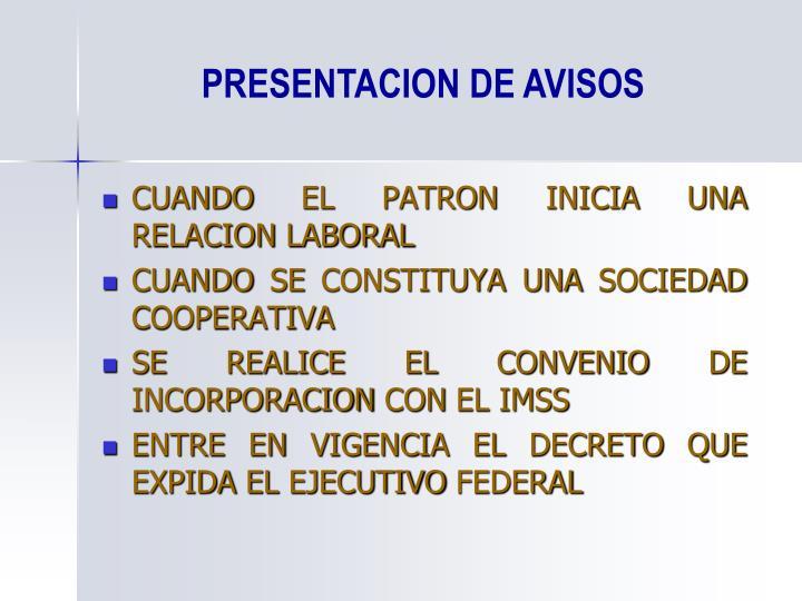 PRESENTACION DE AVISOS