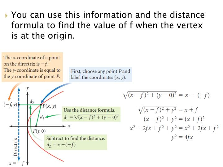 You can use this information and the distance formula to find the value of f when the vertex is at the origin.