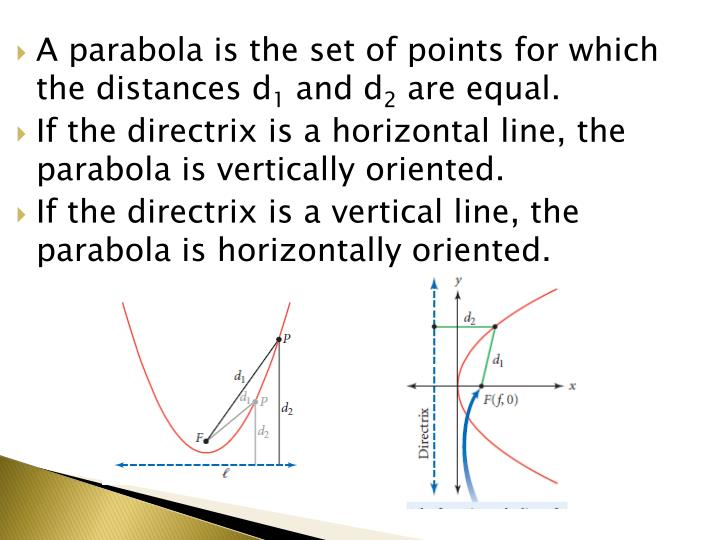 A parabola is the set of points for which the distances d