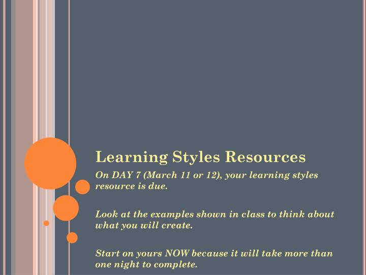 Learning Styles Resources