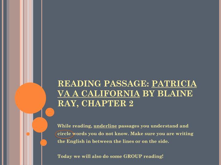 READING PASSAGE: