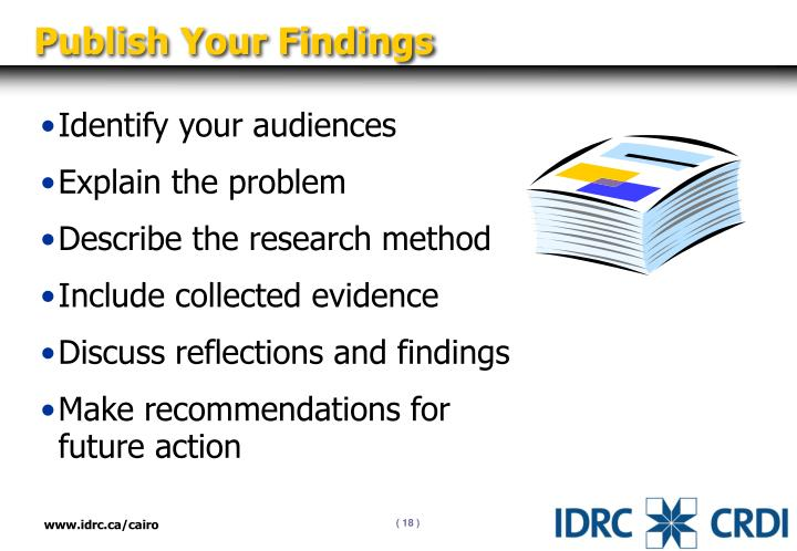 Publish Your Findings