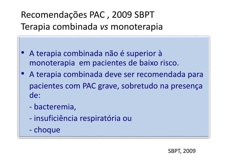 Recomendações PAC , 2009 SBPT