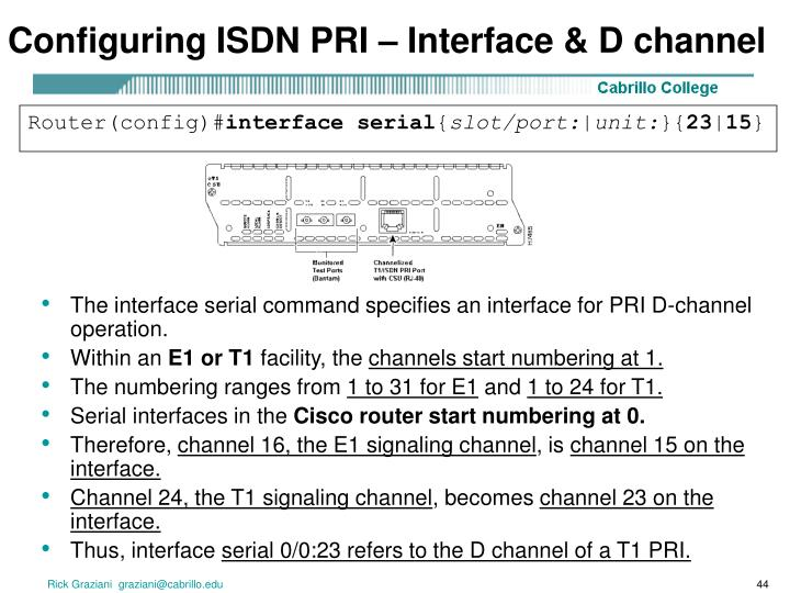Configuring ISDN PRI – Interface & D channel