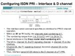 configuring isdn pri interface d channel