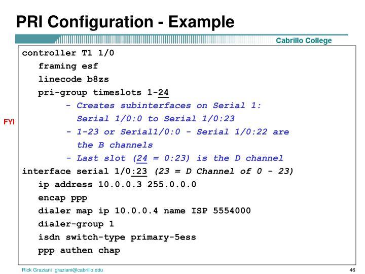 PRI Configuration - Example